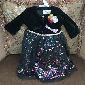 Other - Baby Girl's Velvet Dress & Shrug Set